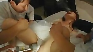 Asian bride gets hardcore group fucking..