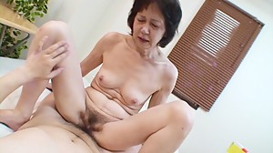 Shy Japanese grandma gets toys and cock..