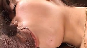 Slim Japanese MILF gets face fucked by a..
